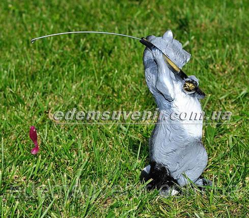 Садовая фигура Енот с удочкой, фото 2