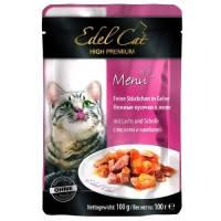Edel Cat pouch паучи Нежные кусочки в желе с лососем и камбалой, 100г