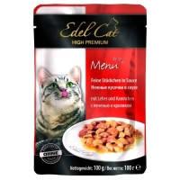 Edel Cat pouch паучи Нежные кусочки в соусе с кроликом и печенью, 100г
