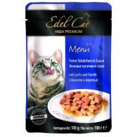 Edel Cat pouch паучи Нежные кусочки в соусе с лососем и форелью, 100г