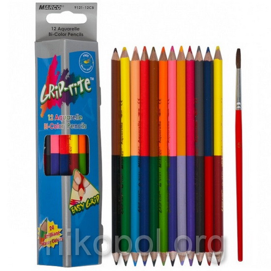 Акварельные карандаши Marco Grip-Rite 9121-12CB, 24 цвета с кисточкой