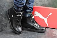 Мужские кроссовки Puma Suede кожаные,черные на меху 45р, фото 1