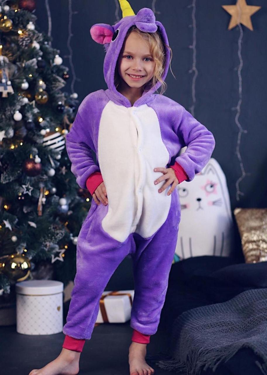 Детский кигуруми фиолетовый единорог krd0073