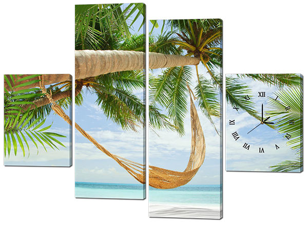 Модульная картина с часами Interno Эко кожа Побережье острова 146x108см (A429L)