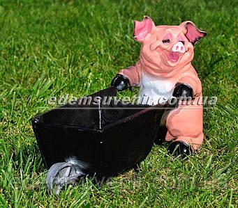 Садовая фигура Свинья с тележкой