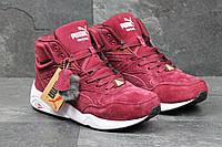 Высокие зимние кроссовки Puma Trinomic,бордовые 41