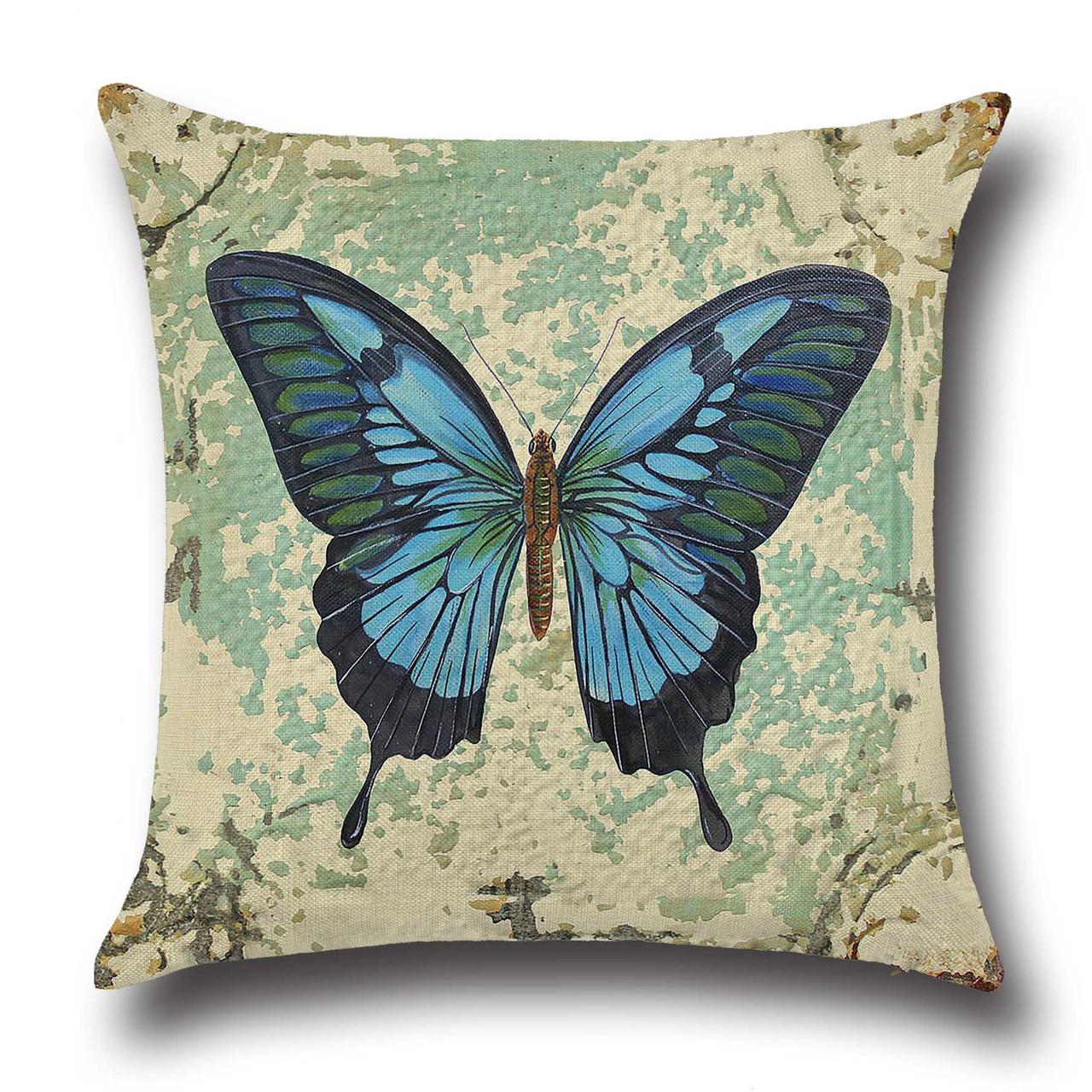 Подушка декоративная Синяя бабочка 45 х 45 см Berni