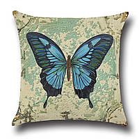 Подушка декоративная Синяя бабочка 45 х 45 см Berni, фото 1