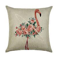 Подушка декоративная Фламинго в цветах 45 х 45 см Berni, фото 1