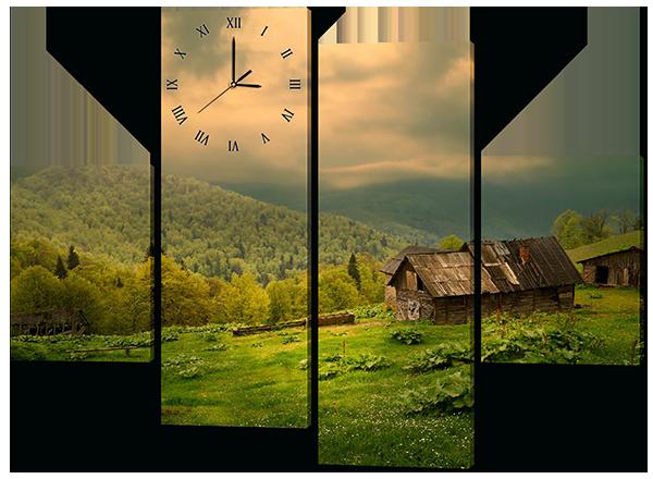 Модульная картина с часами Interno Холст Домик на холмах 106X77см (R453S)