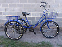 """Велосипед трехколесный грузовой для взрослых """"Городской с корзиной"""" 24"""
