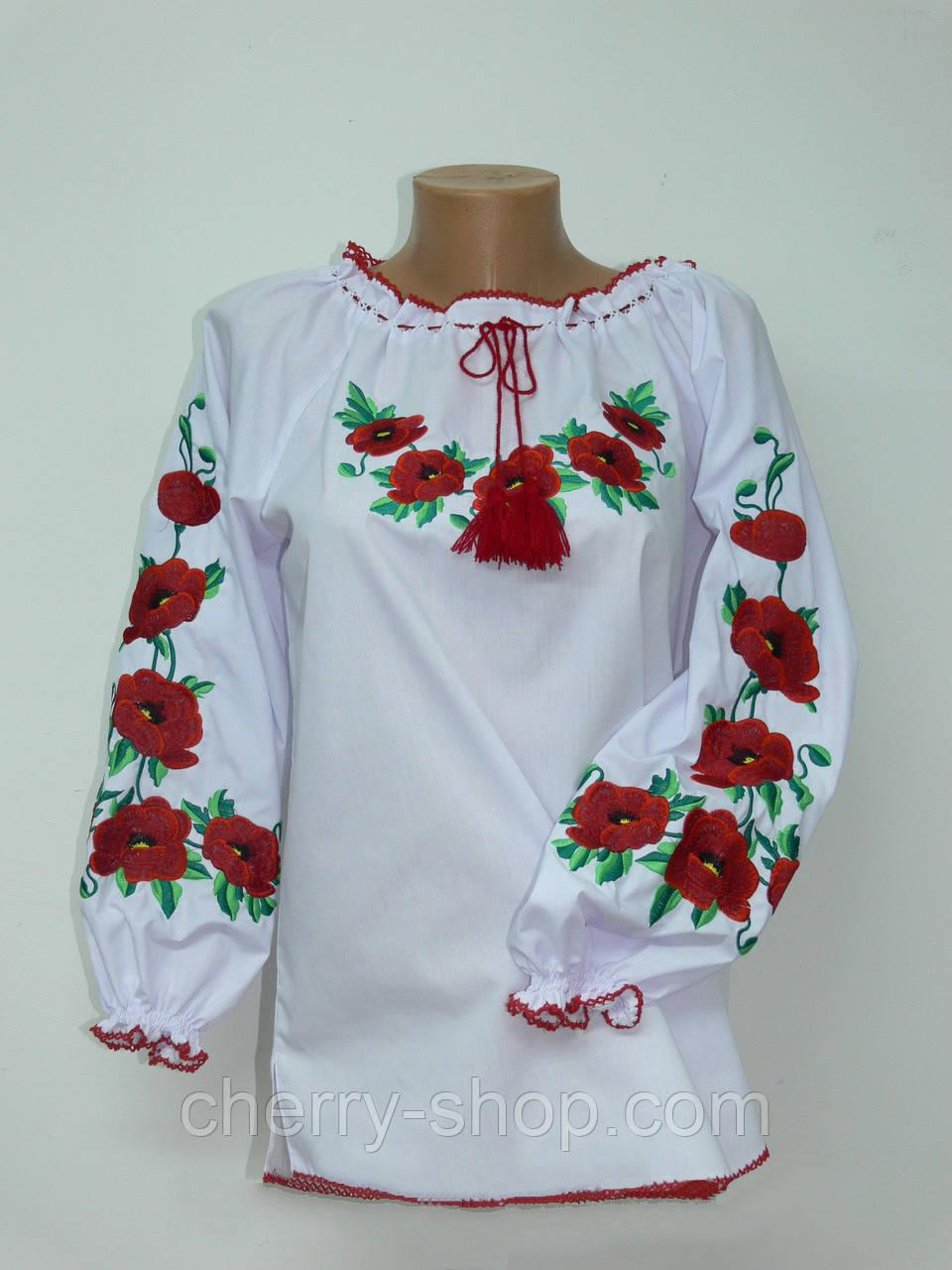Женская вышиванка Маки хорошое качество, недорога жіноча вишиванка Маки від Черрі шоп