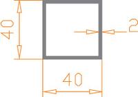 Алюминиевая труба квадратная 40*40*2 / AS