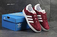 Мужские кроссовки Adidas Gazelle,замшевые бордовые 46р, фото 1