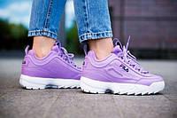 Кроссовки женские розовые FILA Disruptor II Purple  весна осень ТОП КАЧЕСТВО