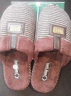 Тапочки мужские комнатные ортопедические с закрытым носком коричневые.