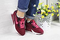 Женские кроссовки Nike air max 90,замшевые,бордовые 36, фото 1