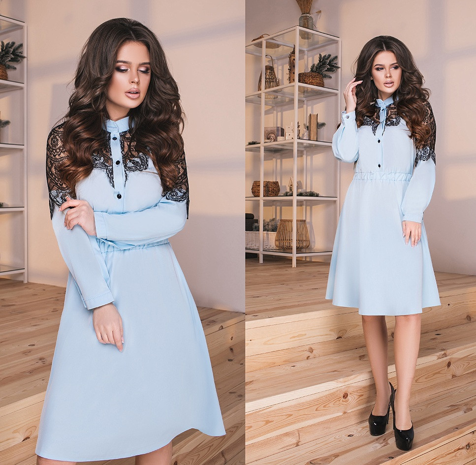 8b5b0038ccb Платье с кружевом и поясом. Голубое