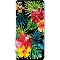 Силиконовый бампер чехол для Sony XZ F8332 с рисунком Тропические цветы