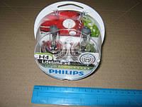 Лампа накаливания H4 12V 60/55W  P43t-38 LongerLife Ecovision 2шт (пр-во Philips)