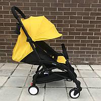 Детская коляска YOYA 175 A+ Желтый оксфорд (рама белая/чёрная) 4х ярусный капор