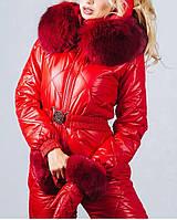 Зимний комбинезон женский на пуху красный с натуральным  мехом, фото 1