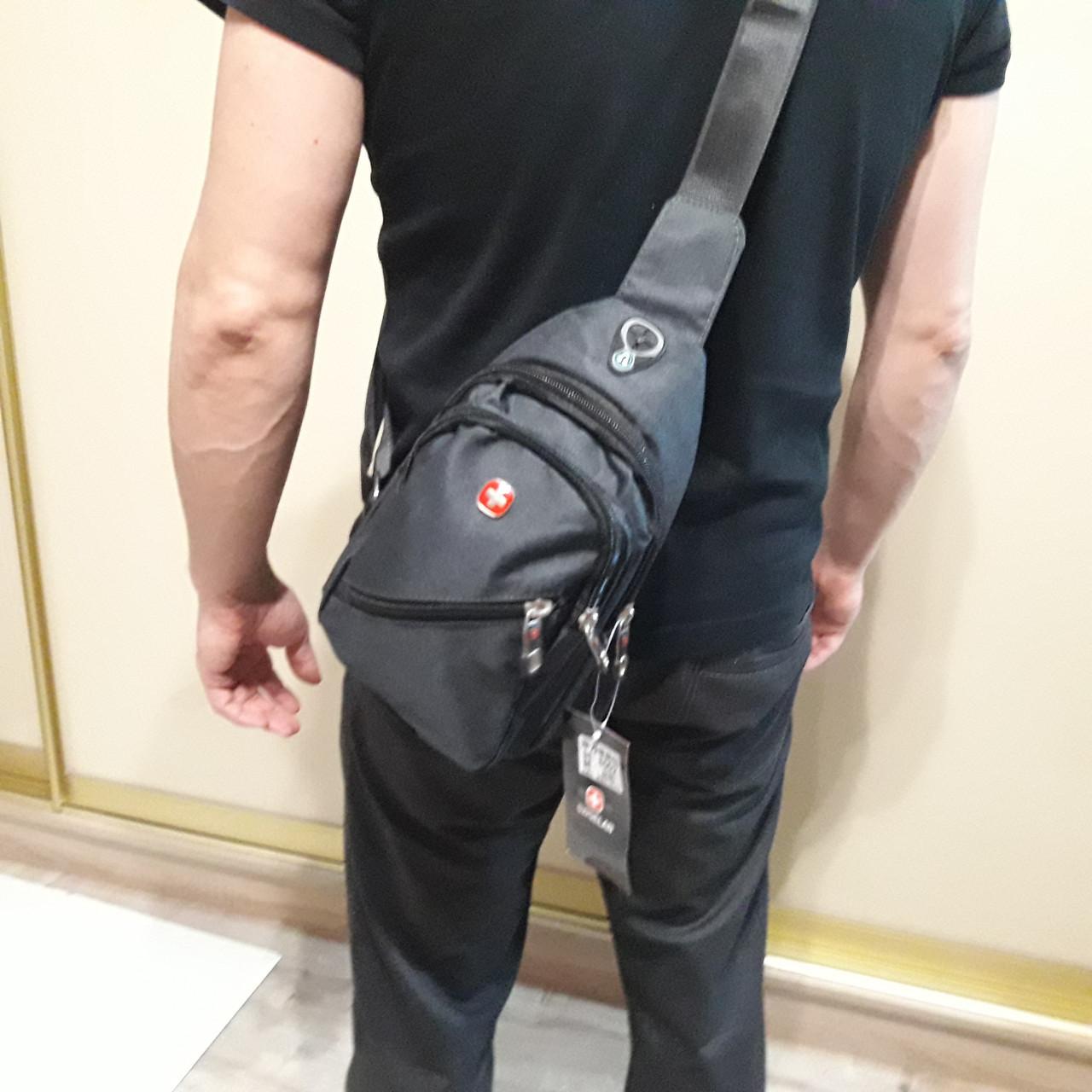 Рюкзак на одно плечо Swissgear мини синий серый черный