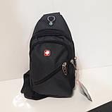 Рюкзак на одно плечо мини черный синий, фото 2