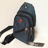 Рюкзак на одно плечо мини черный синий, фото 10