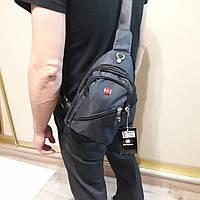 Рюкзак на одно плечо Swissgear мини темно серый черный синий