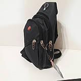 Рюкзак на одно плечо мини черный синий, фото 8