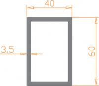 Алюминиевая труба прямоугольная 60*40*3,5 / AS