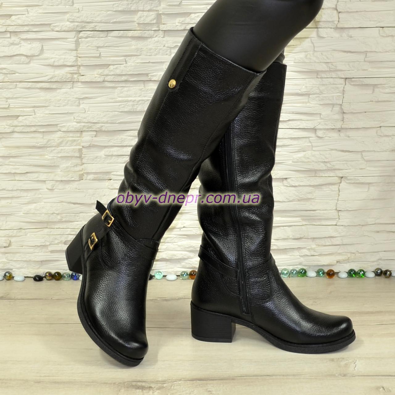 Сапоги женские кожаные зимние на невысоком каблуке