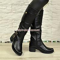 Сапоги женские кожаные зимние на невысоком каблуке, фото 1