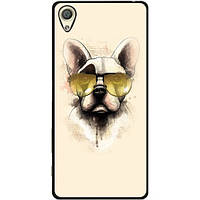 Силиконовый бампер чехол для Sony XZ F8332 с рисунком Собака в очках