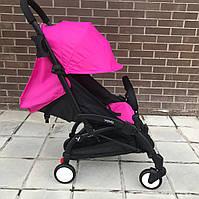 Детская коляска YOYA 175 A+ малиновая оксфорд (рама белая/чёрная) 4х ярусный капор