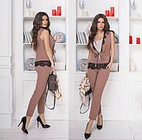 Красивый женский брючный костюм жилет на завязочках с отделкой из кружева реснички 42-44, 44-46