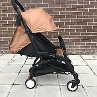 Детская коляска YOYA 175 A+ коричневая оксфорд (рама белая/чёрная) 4х ярусный капор