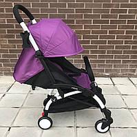 Детская коляска YOYA 175 A+ Фиолетовая оксфорд  (рама белая/чёрная) 4х ярусный капор