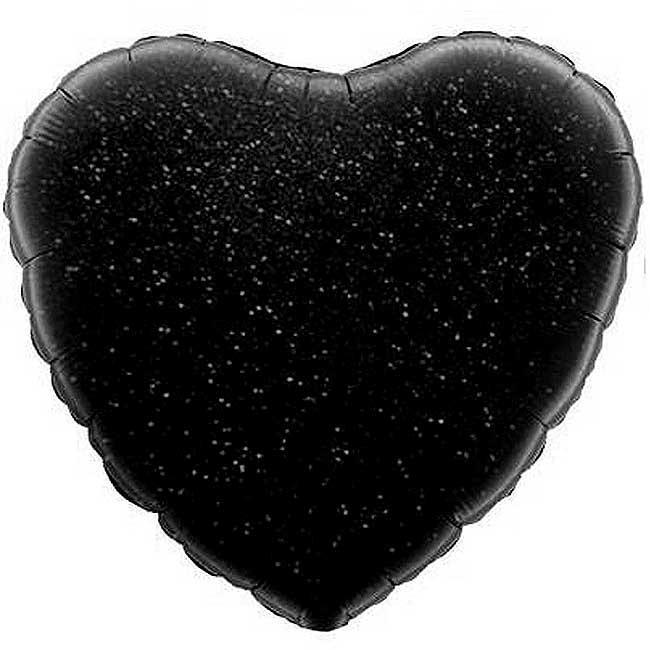 """Шар фольгированный """"Сердце голограмма"""" Цвет:Чёрный. Размер:18""""(45см)."""