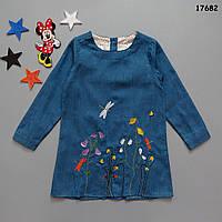 Джинсовое платье-туника для девочки. 110, 140 см, фото 1