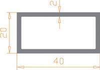Алюминиевая труба прямоугольная 40*20*2 / AS