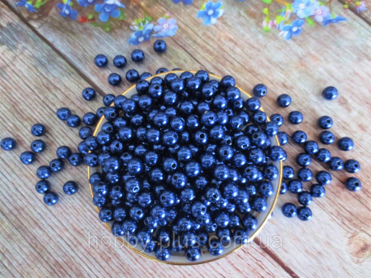 Жемчуг искусственный, 8 мм, цвет синий, 10 грамм, (~40 шт).