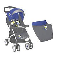 Детская коляска SMARTY + FOOTCOVER BLUE&GREY PUPPIES