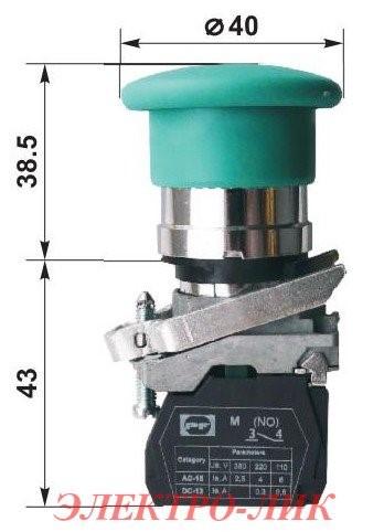 Вимикач ВК 012-НГрЗ, зелений, грибок без фіксації, 1NО, ІР40, пласт.