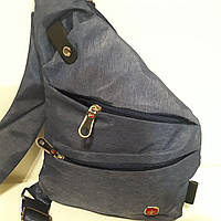 Городской рюкзак Swissgear на одно плечо мини 7 л серый синий, фото 1
