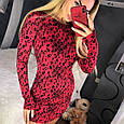Красное мини платье с леопардовым принтом, фото 4