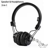 Беспроводные Bluetooth наушники-стерео колонка 2:1 NIA X5 SP с MP3 micro SD черные
