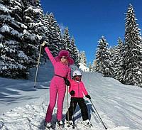 Winter ski womens suit pink with gloves\ natural fur (with delivery to Ireland), фото 1