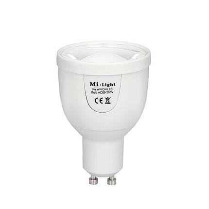 Светодиодная лампочка MiLight диммируемая 5Вт GU10 Dual White LED Spotlight ССT (2700-6500K) 220V, фото 2